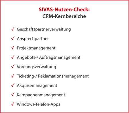 SIVAS CRM-Kernbereiche