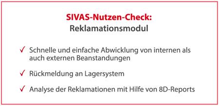 SIVAS Reklamationsmodul