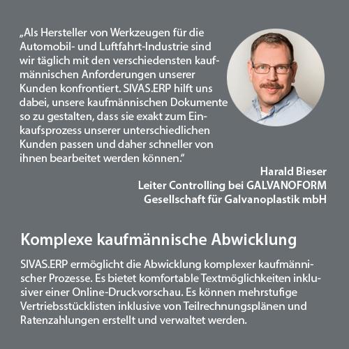 Herr Bieser von Galvanoform über SIVAS.ERP